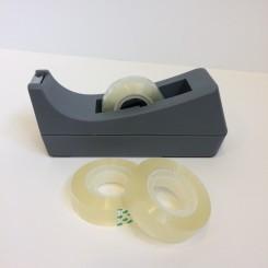 Tapedispenser m/3 ruller tape, grå