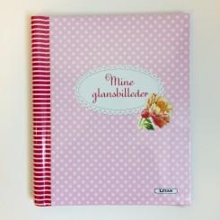 Glansbilledalbum blomster og prikker lyserød