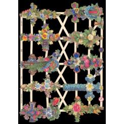 Glansbilleder blomster på kors / 3-7300