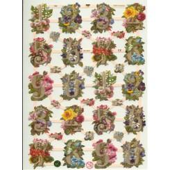 Glansbilleder tal m. blomster / 3-7339