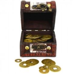 Skattekiste med mønter