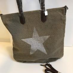 Shopper Canvas m. glimmerstjerne - Brun