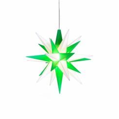 Adventsstjerne, plast, 13cm, samlet, hvid & grøn. (LED)