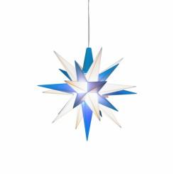 Adventsstjerne, plast, 13cm, samlet, hvid & blå. (LED)