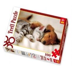 Puslespil Hund & kat sover, 100 brikker