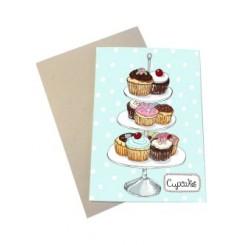 Mouse & Pen kort A6 - Cupcakes