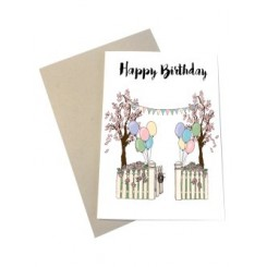 Mouse & Pen kort A6 - Happy Birthday