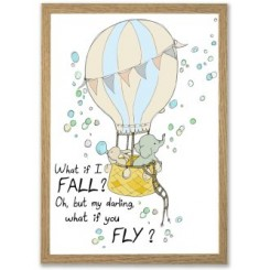 Mouse & Pen illustration A4 - What if I fall? Oh, but my darling, what if you fly?