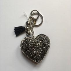Nøglering / taskepynt glimmer hjerte sort