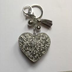 Nøglering / taskepynt glimmer hjerte sølv