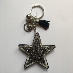 Nøglering / taskepynt glimmer stjerne sort