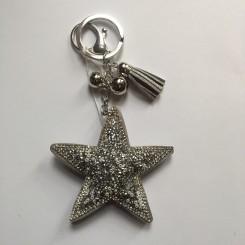 Nøglering / taskepynt glimmer stjerne sølv