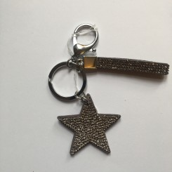 Nøglering / taskepynt glimmer stjerne grå lille