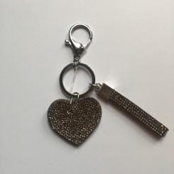 Nøglering / taskepynt glimmer hjerte grå lille