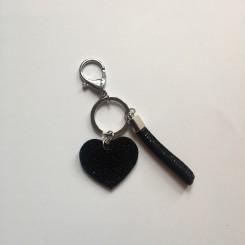 Nøglering / taskepynt glimmer hjerte sort lille