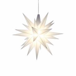UDSOLGT - Adventsstjerne, plast, 13cm, samlet, hvid (LED)