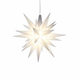 Adventsstjerne, plast, 13cm, samlet, hvid (LED)
