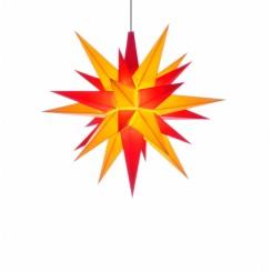 Adventsstjerne, plast, 13cm, samlet, gul & rød (LED)