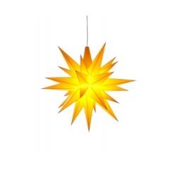 Adventsstjerne, plast, 13cm, samlet, gul