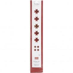 Stjernestrimler, B: 15+25 mm, diam. 6,5+11,5 cm, guld, rød, metalspidser, 48stk., L: 44+86 cm