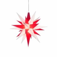 Adventsstjerne, plast, 13cm, samlet, hvid & rød