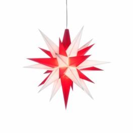 UDSOLGT - Adventsstjerne, plast, 13cm, samlet, hvid & rød (LED)