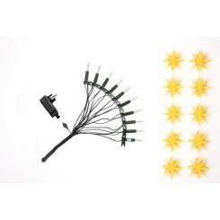 Adventsstjerne lyskæde, plast, 13cm, samlet,  gul (Ude- og indendøres)