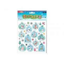 Stickers snemænd & dyr i julekugler