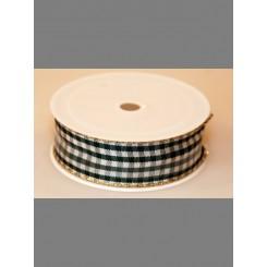 Bånd, ternet grøn/hvid med guld kant, 25mm, 6m