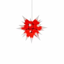 Adventsstjerne, papir, 40 cm, usamlet, rød kerne & hvide spidser