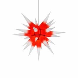 Adventsstjerne, papir, 60 cm, usamlet, rød & hvid kerne