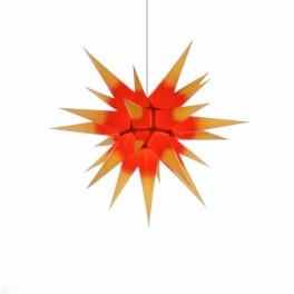 Adventsstjerne, papir, 60 cm, usamlet, rød & gul kerne