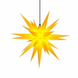 Adventsstjerne, plast, 68 cm, usamlet, gul, INKL.beslag (Kan bruges undendørs)