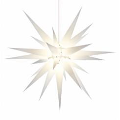 Adventsstjerne, papir, 80 cm, usamlet, hvid