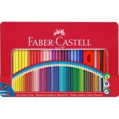 Faber Castell Grip akvarel farveblyanter i metal æske 48 stk. + pensel og tegneblyant
