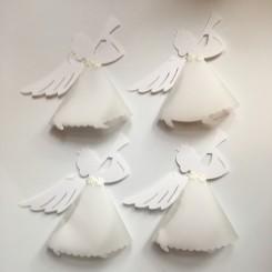 Christiansfeld engel, 4 stk., hvid