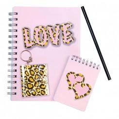 Notesbog sæt, leopard LOVE