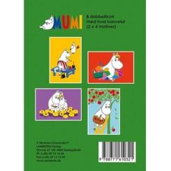 Gaveæske Mumi grøn - 8 dobbeltkort