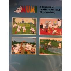 Gaveæske Mumi blå - 8 dobbeltkort