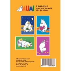 Gaveæske Mumi gul - 8 dobbeltkort