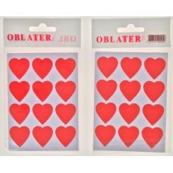 Oblater hjerte stor rød, 24 stk