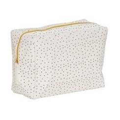 Toilettaske, firkantet, vaskbarpapir, hvid/sort/guld, mellem