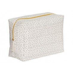 Toilettaske, firkantet, vaskbarpapir, hvid/sort/guld, stor