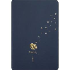 Delux kladdehæfte A5, navyblå med guld flodhest