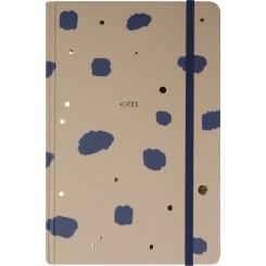 Notesbog Delux, A5, navy, gold, brown