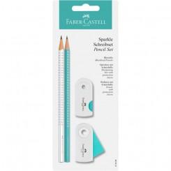 Faber Castell SPARKLE skrivesæt hvid & turkis
