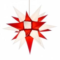 Adventsstjerne, papir, 40 cm, usamlet, rød & hvid