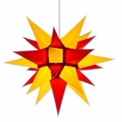 Adventsstjerne, papir, 40 cm, usamlet, rød & gul