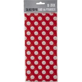 Silkepapir rød m. prikker