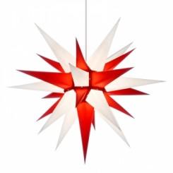 Adventsstjerne, papir, 60 cm, usamlet, rød & hvid